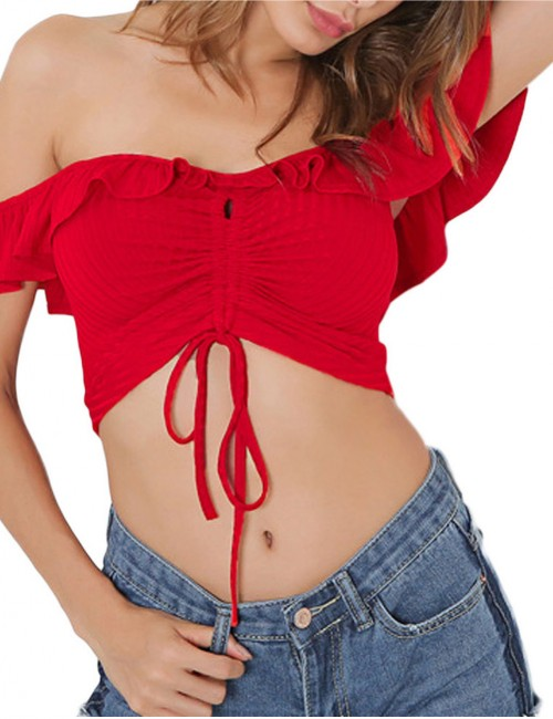 Modern Drawstring Tie Ruffles Red Cropped Top Off Shoulder Comfort