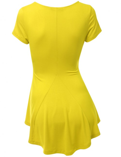 Glam Yellow Pleated V Collar Shirt Bamboo Fiber Latest Fashion