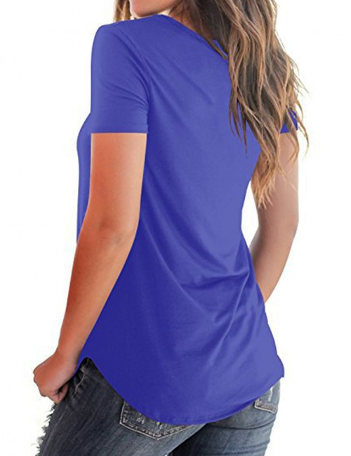 Funny Blue Plunge Neck Top Tees Short Sleeve Fashion Shopping