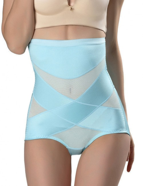 Basic Shaping Light Blue Mesh Splicing Booty Control High Cut Leg