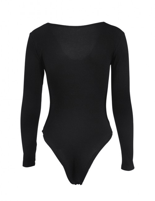 Brightly Black Pure Color Tight Bodysuit Front Knot Womens Apparel