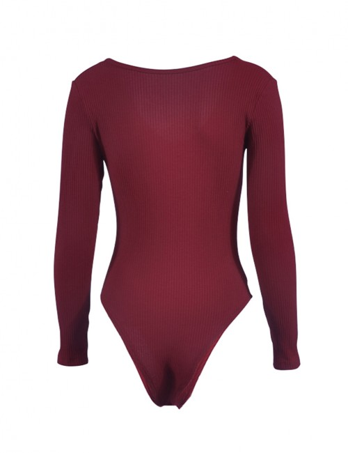 Alluring Wine Red High Cut Plain Bodysuit Long Sleeves All-Match
