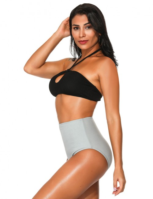 Classy Black Halter Neck Two Piece Beachwear High Waist Feminine Fashion Style