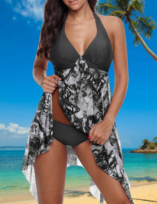 Passionate Black Big Size V-Neck With Knot Asymmetric Two Pieces Beachwear Feminine Elegance