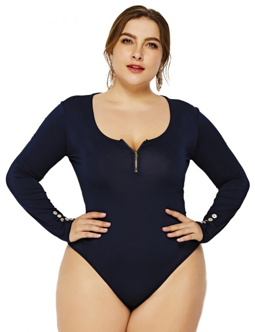 Flirtatious Dark Blue Large Size Bodysuit High Cut Legs Front Zip Going Out Outfits