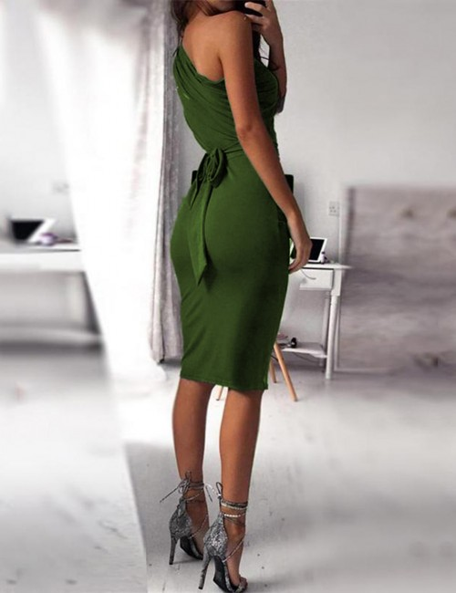 Delicate Green 1/2 Sleeves Plain Bodycon Dress Large Size Ultra Sexy