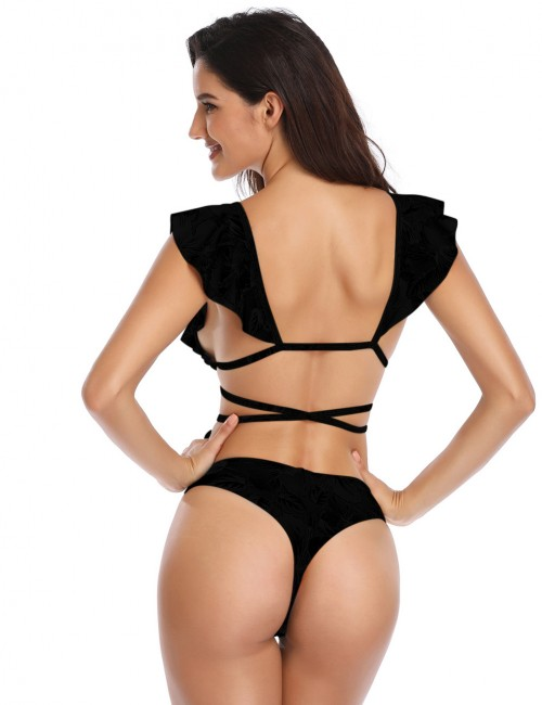 Svelte Style Black Backless Strappy Bikini High Cut Pure Color Form Fit