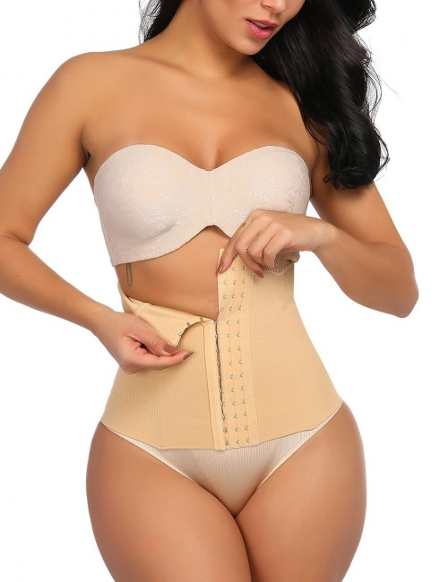 Appealing Nude Lace Steel Boned Waist Cincher Double Layers Moderate Control