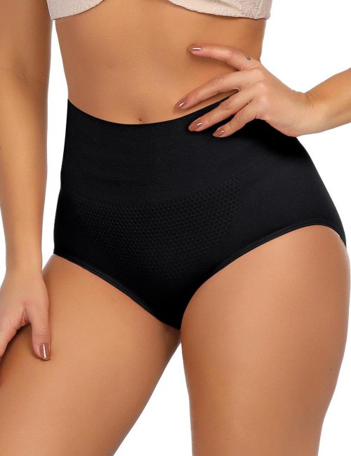 Firm Control Black 3D Warm Uterus Shaping Panty High Waist Smooth Silhouette