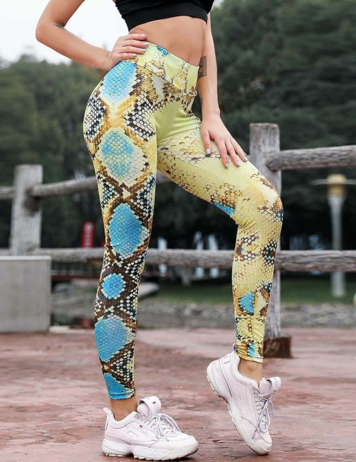 Glaring Yellow Activewear Tights High Rise Snake Print Casual Clothes