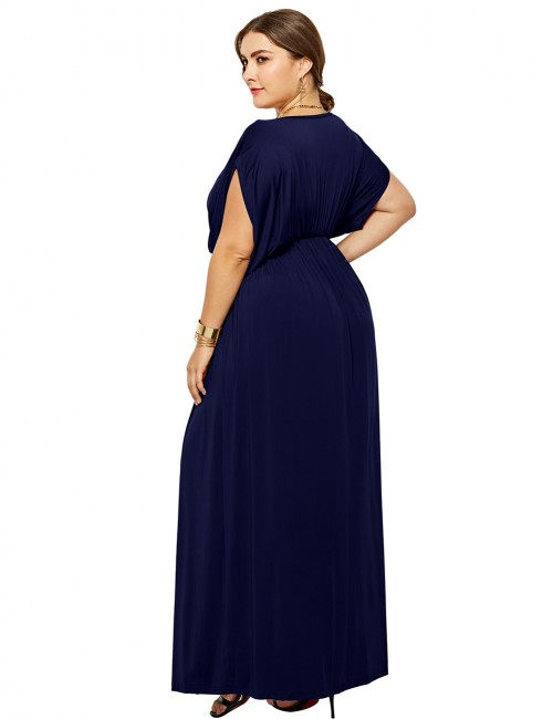Appealing Dark Blue Queen Size Maxi Dresses High Waist V-Neck Loose Fit