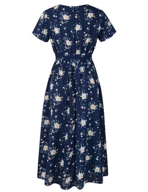 Curve Smoothing Navy Blue Bohemian V-Neck Midi Dress High Waist