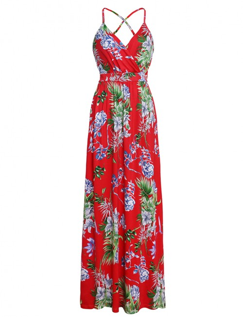 Dressy Red Floral Backless Wrap Maxi Dress Plunging Neck Outdoor