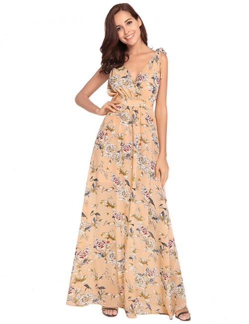 Apricot Waist-Defined Maxi Deep V Dress Chiffon Feminine