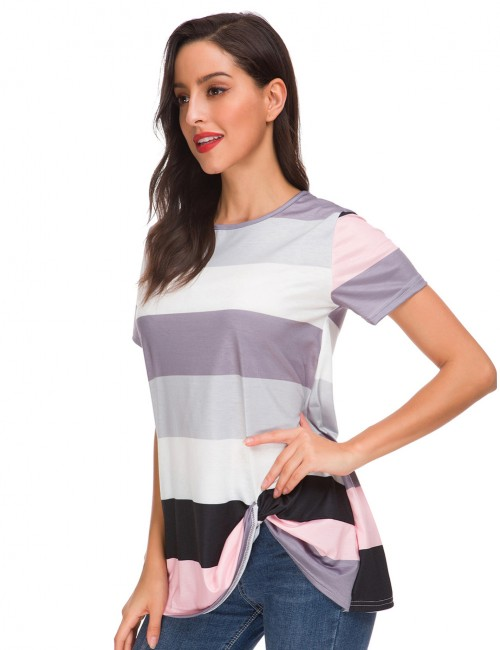 Best Price Grey Twist T-Shirt Bold Colorblock Round Neck Soft-Touch