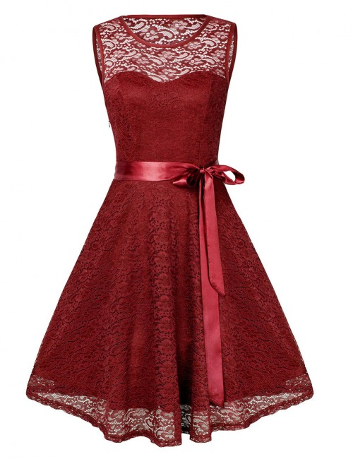 Adorable Red Floral Lace Waist Knot Skater Dress Round Neck Breathable