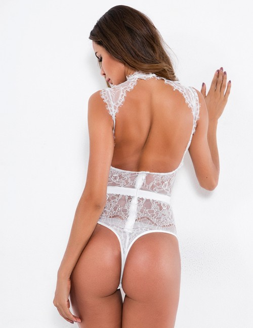 Adorned White Open Back Lace Mesh Teddy Straps Dissolute Time