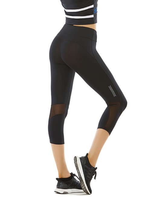 Black Reflective Strips Mesh Patchwork Sport Legging
