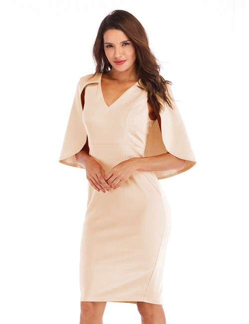 Form-Fitting Khaki Cloak Sleeve Back Slit Dress V Neck Womenswear