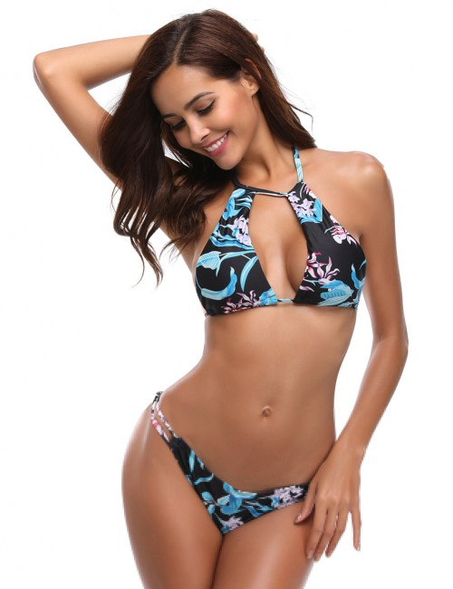 Inspired Low Waist Hollow Out Bikini Halter Backless Forward Women