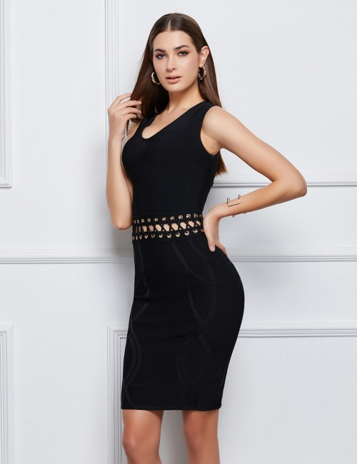 Cheeky Black Hollow Metallic Hole Bandage Dress Natural Fit