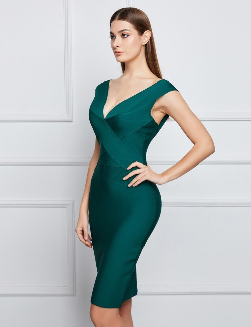 Lightweight Green Backless Cap Sleeves Bandage Dress Stretch