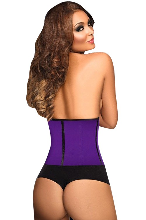 Wholesale 9 Steel Boned 3 Hooks Purple Latex Waist Cincher