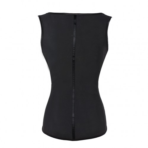 Black Waist Cincher Vest 4 Rows of Hooks Fajas Colombianas