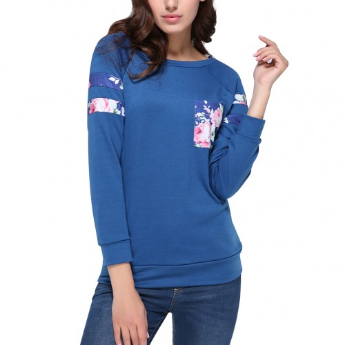 Charming Blue Side Floral Print Sweatshirt Full Sleeves 0-Neckline