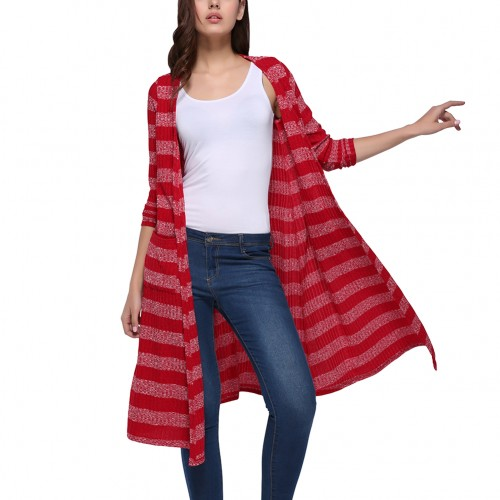 Charming Red Knitted Stripe Printing Cardigans 2 Pockets