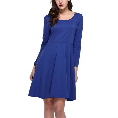 Comfortable Blue Long Sleeves Shift Dress Round Neckline