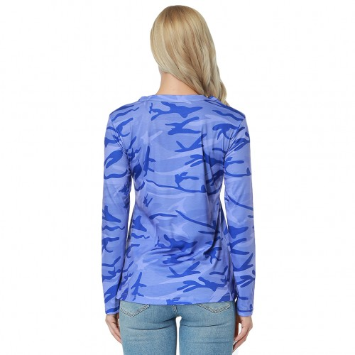 Leisure Blue Keyhole Front Blouse Full Back Lace-Up