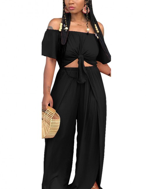 Invigorative Black Elastic Waist Cropped Set Off The Shoulder Quality
