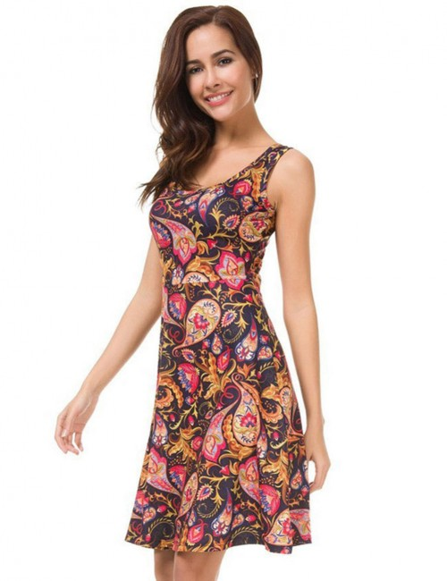 Frisky Sleeveless Floral Skater Dress Mini Length Form Fit