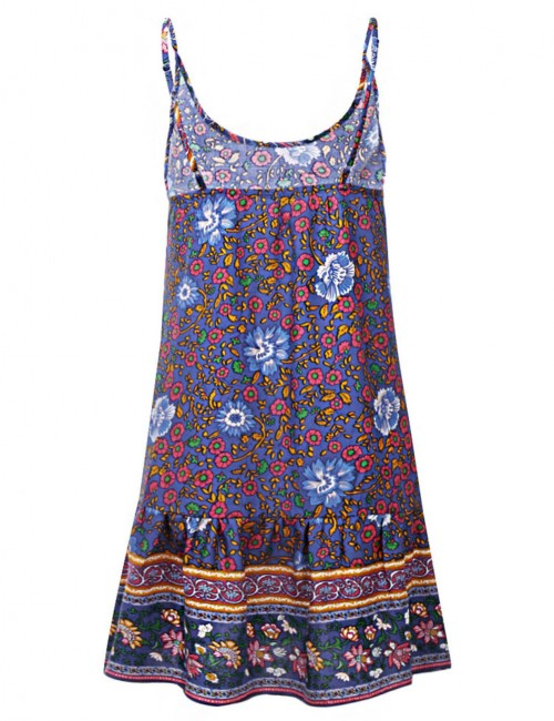 Blue Floral Print Sling Mini Dress Open Back All-Match Fashion