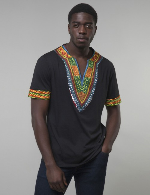 Contouring Black Tribal V Collar Short Sleeve Men Top Ultra Cheap