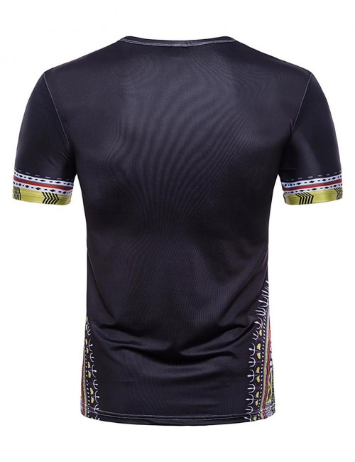 Perfectly Black Dashiki Tribal Pattern Men T-Shirt Crew Neck