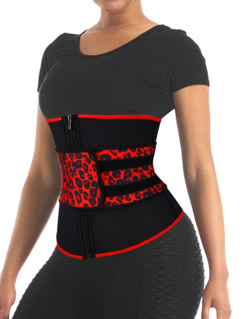 Leopard 7 Steel Boned Latex Waist Trainer Big Size Cellulite Reducing