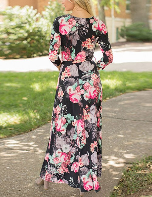 Bewildering Waist Tie Black Floral Print Maxi Dress V Neck Comfortable