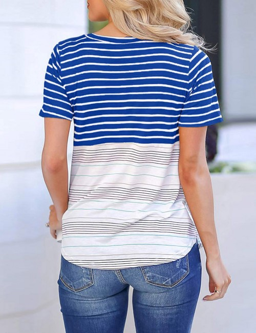 Noticeable Sapphire Blue Stripe Round Collar T-Shirt Short Sleeve Comfort