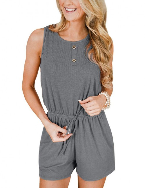 Nicely Drawstring Grey Wide Strap Jumpsuit Hollw Out Ultimate Comfort