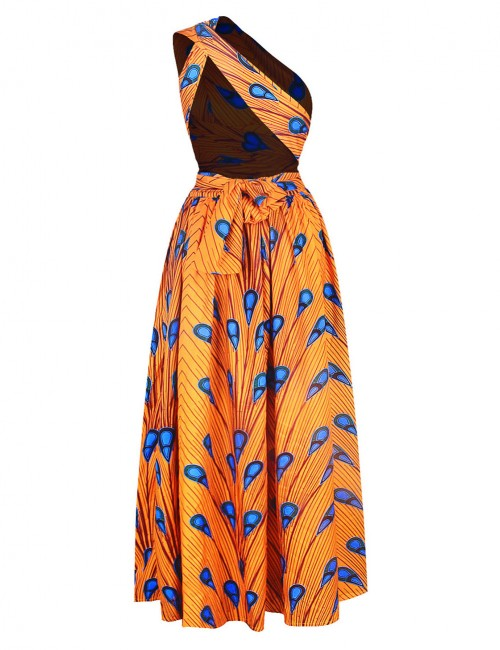 Sparkly Yellow Tribal Print Criss Cross Backless Maxi Dress Shop Online