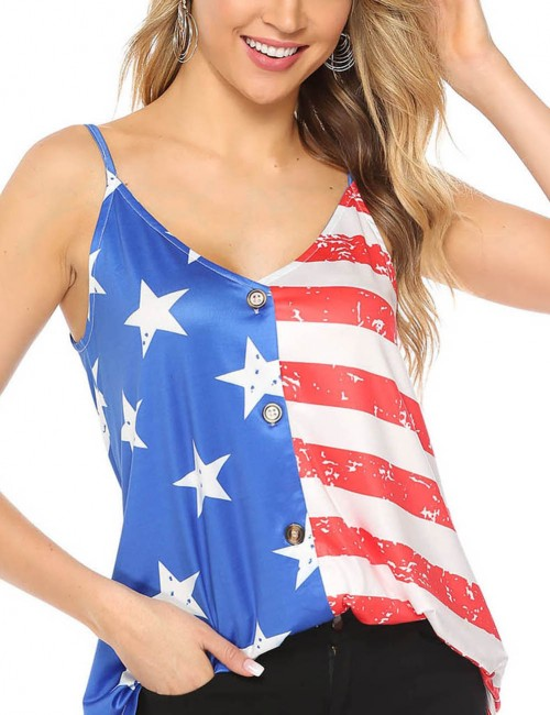 Fetching Button Down Flag Print V Neck Sling Vest Top For Beauty