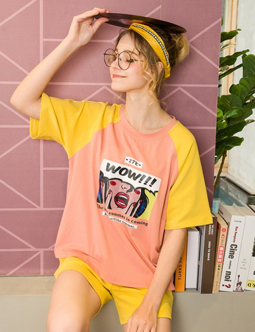 Girly Confessions Cartoon Print Contrast Color 2 Pcs Sleepwear Comfort
