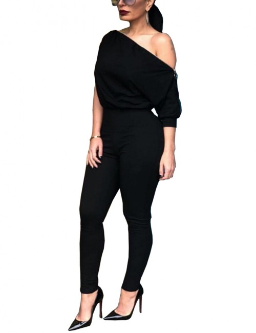 Funny Zip Side Black Irregualr Shoulder Jumpsuit Plain Cheap Fashion