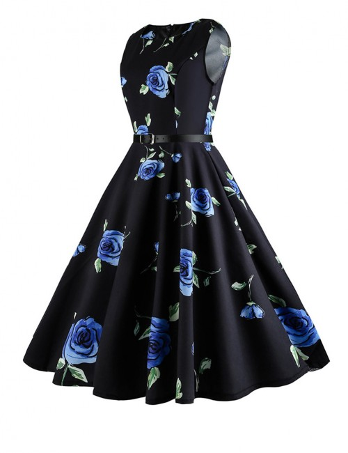 Elegant Sleeveless Waist Belt Print Skater Dress Hepburn Woman
