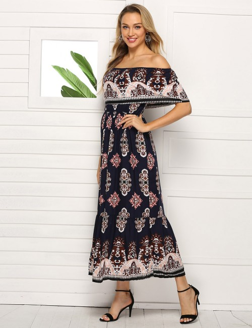 Body Hugging Ruched Waist Slim Bohemia Midi Dress Big Size Woman