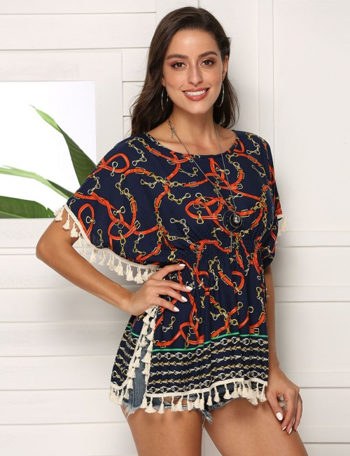 Glorious Print Short Sleeve Tassel T-Shirt Slit Side Leisure Wear