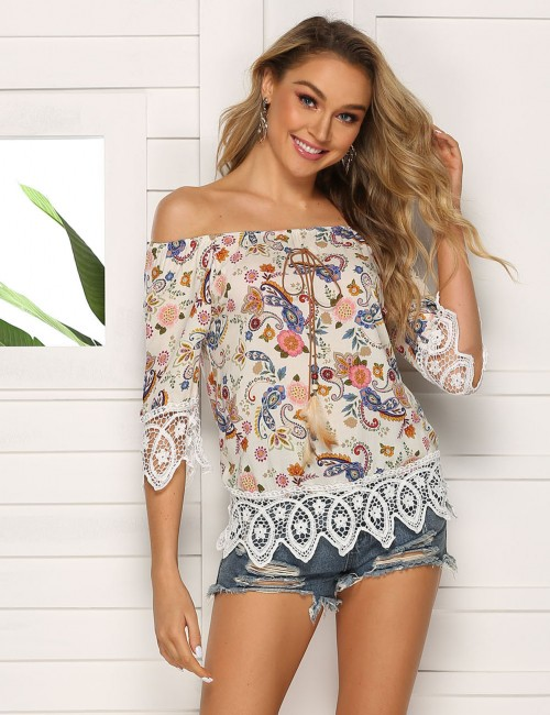 Glamourous White Lace Patchwork Floral Print Knot T-Shirt Stretchy
