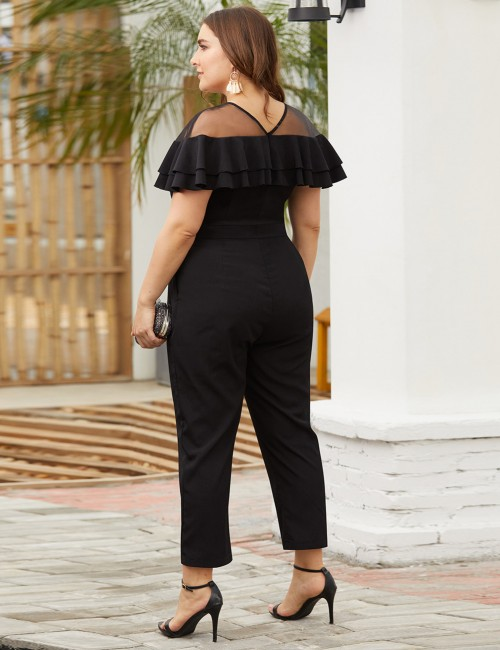 Gorgeous Black Mesh Patchwork Ruffle Big Size Jumpsuits Casual Women